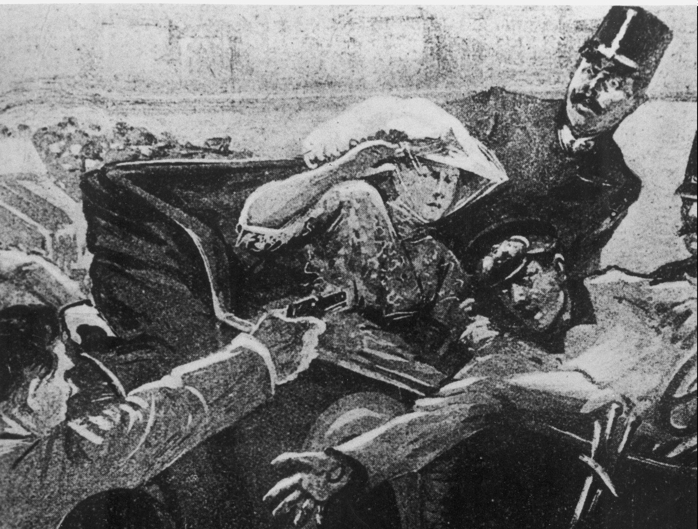 Artist's rendering of the assassination of Archduke Franz Ferdinand