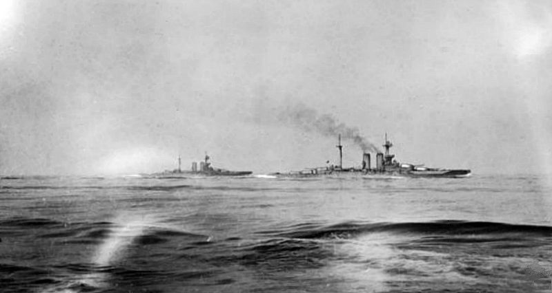 HMS Warspite and Malaya during the battle of Jutland