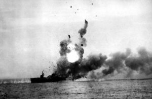 USS St. Lo explodes after being hit by a kamikaze aircraft during Battle of Leyte Gulf