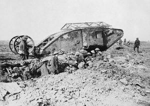 British tank at the Battle of the Somme, September 1916