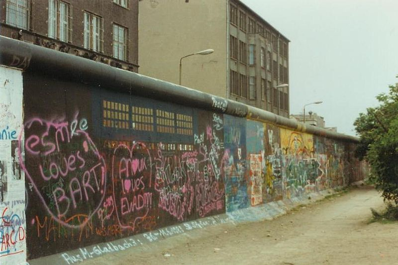 The West Berlin side of the Berlin Wall, 1989