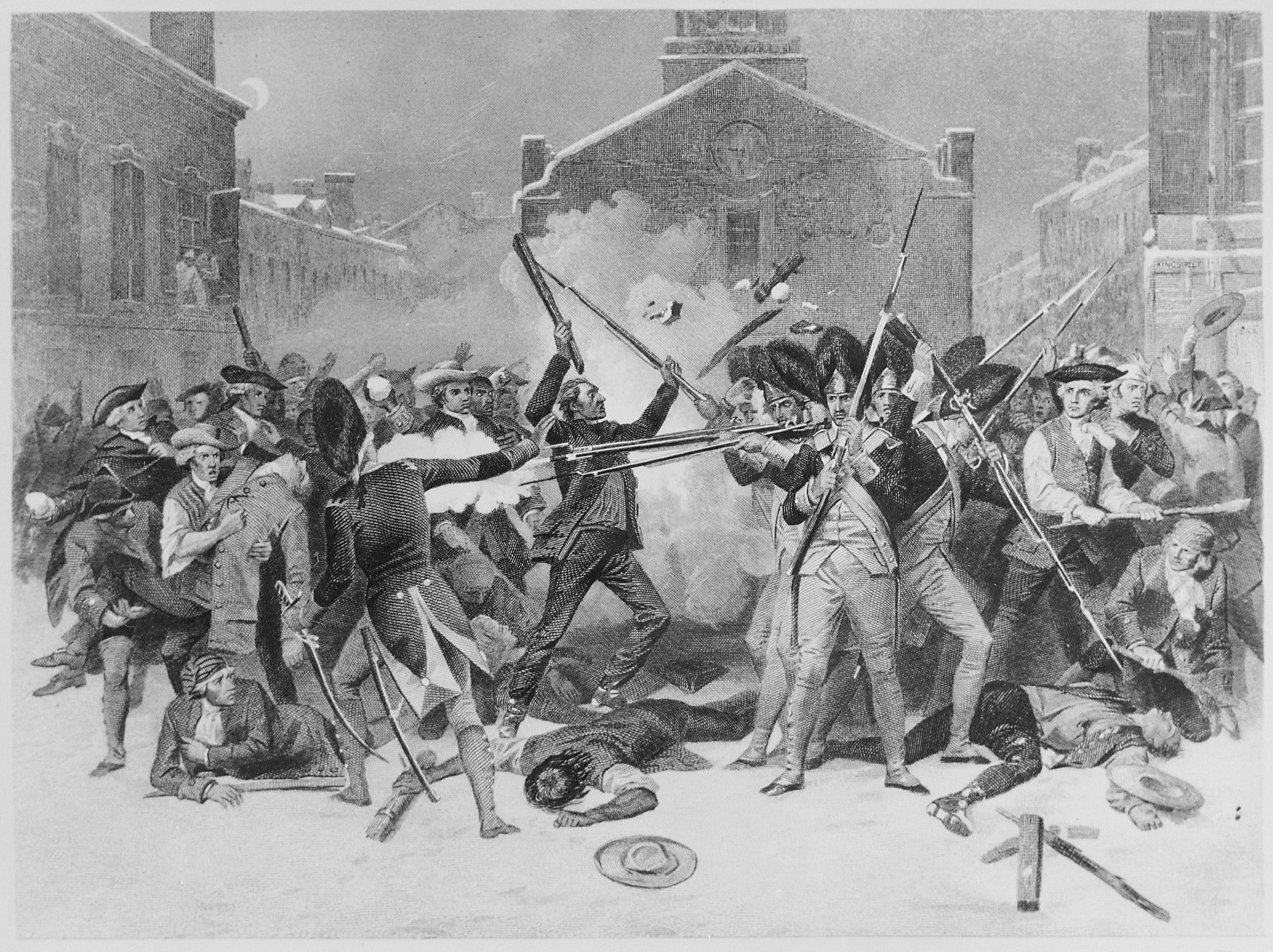 """The Boston Massacre"" engraving after the painting by Alonzo Chappel"