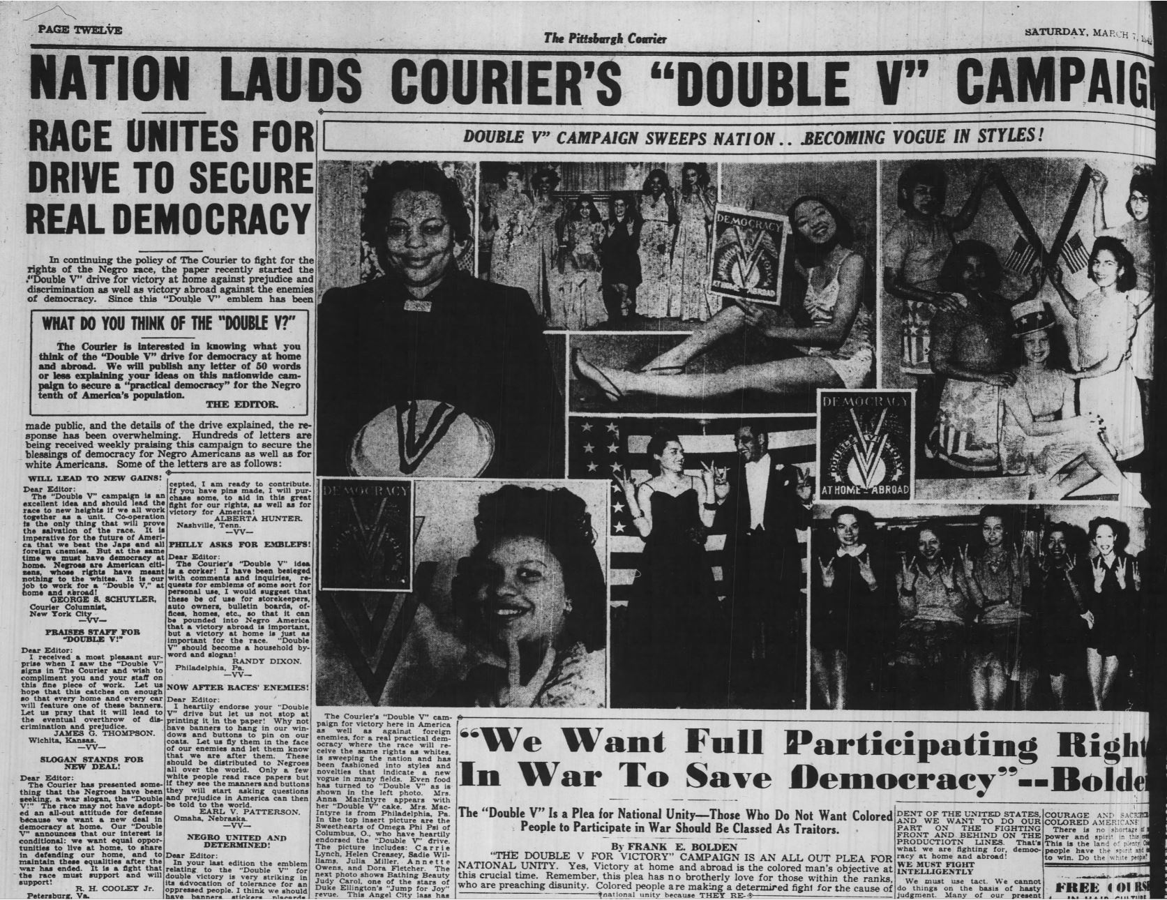 Newspaper with Double V Campaign news (Pittsburgh Courier, via Newspapers.com)