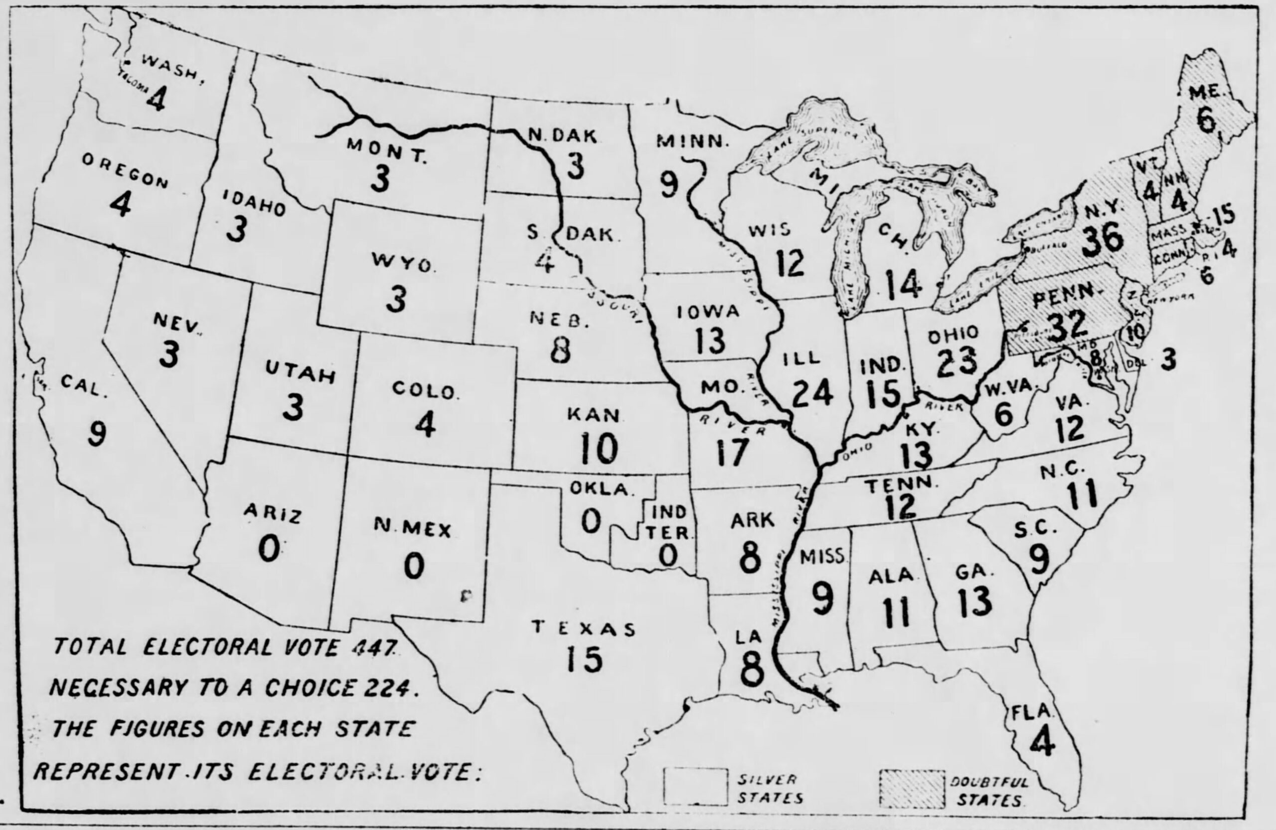 Electoral College map from 1896