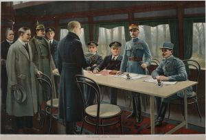 Signing of the armistice with Germany at the end of World War I