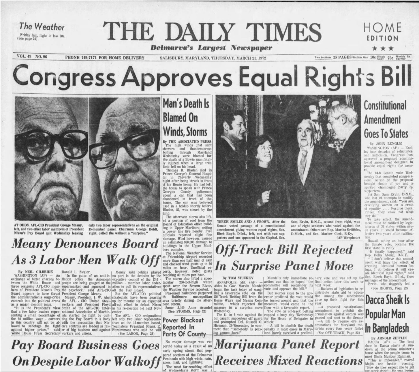 U.S. Senate passes the Equal Rights Amendment in 1972