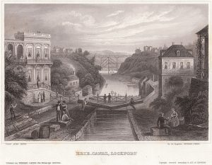 Lithograph of the Erie Canal at Lockport, New York c.1855