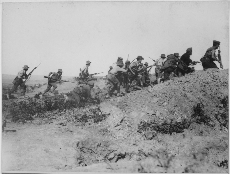Australian troops charging near a Turkish trench during the Gallipoli Campaign, circa 1915