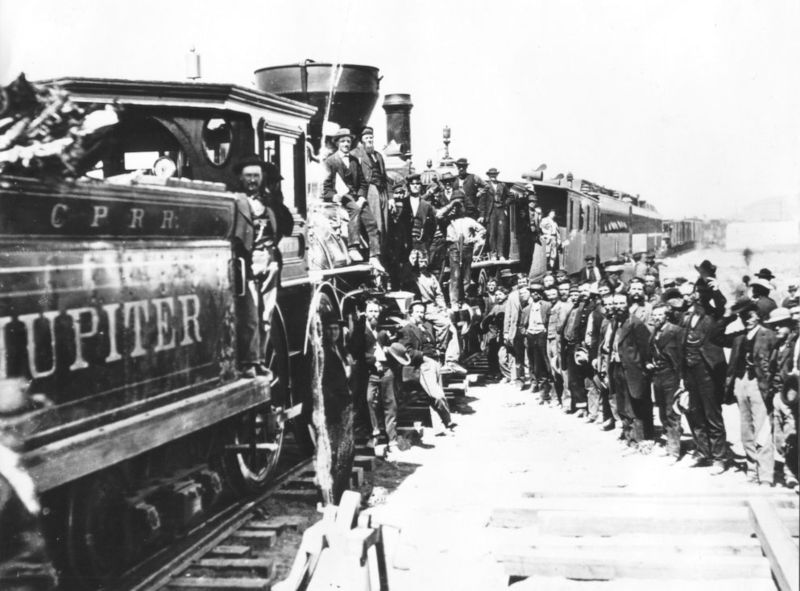 Photo from the Golden Spike Ceremony at Promontory Summit, May 10, 1869
