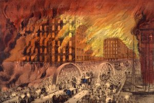 Currier & Ives lithograph showing people fleeing the Great Chicago Fire of 1871
