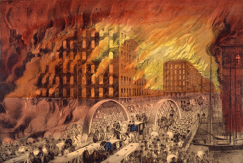 The Currier & Ives lithograph showing people fleeing the Great Chicago Fire of 1871