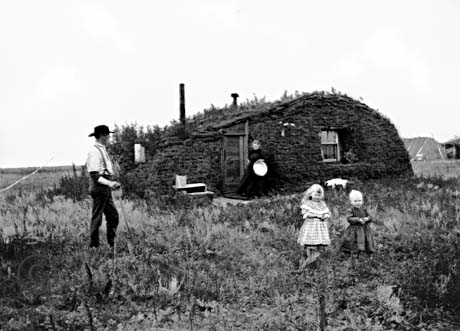 Norwegian immigrants in 1898 on their land claimed under the Homestead Act