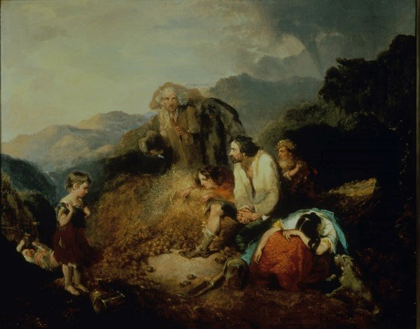 """An Irish Peasant Family Discovering the Blight of their Store,"" by Daniel MacDonald, c. 1847"