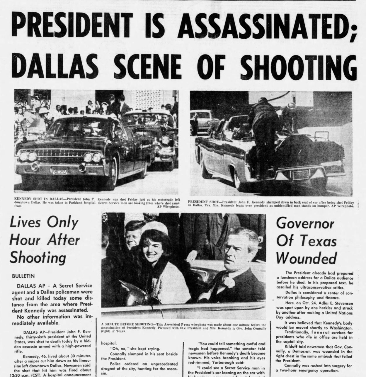 Newspaper coverage of the assassination of President John F. Kennedy (Terre Haute Tribune, via Newspapers.com)