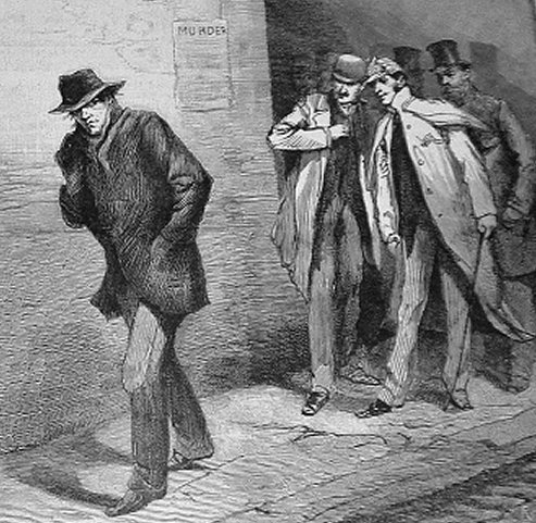 "Artists rendering of ""a suspicious character"" during Jack the Ripper era in London"