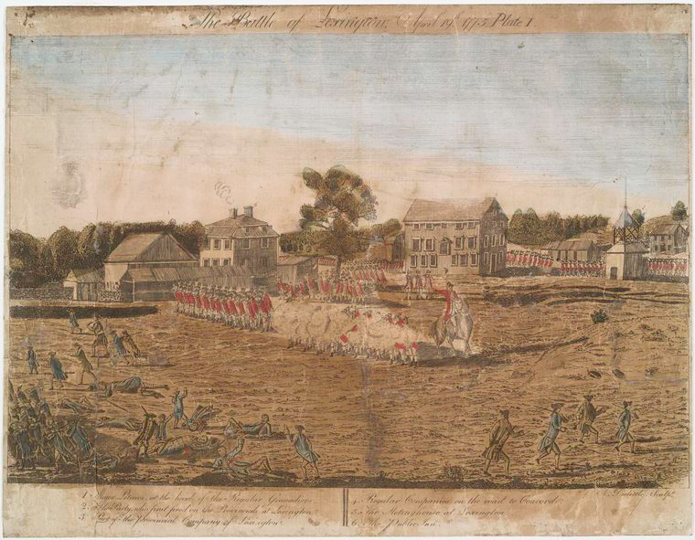 The Battle of Lexington, by Amos Doolittle (engraver) and Ralph Earl (artist), 1775