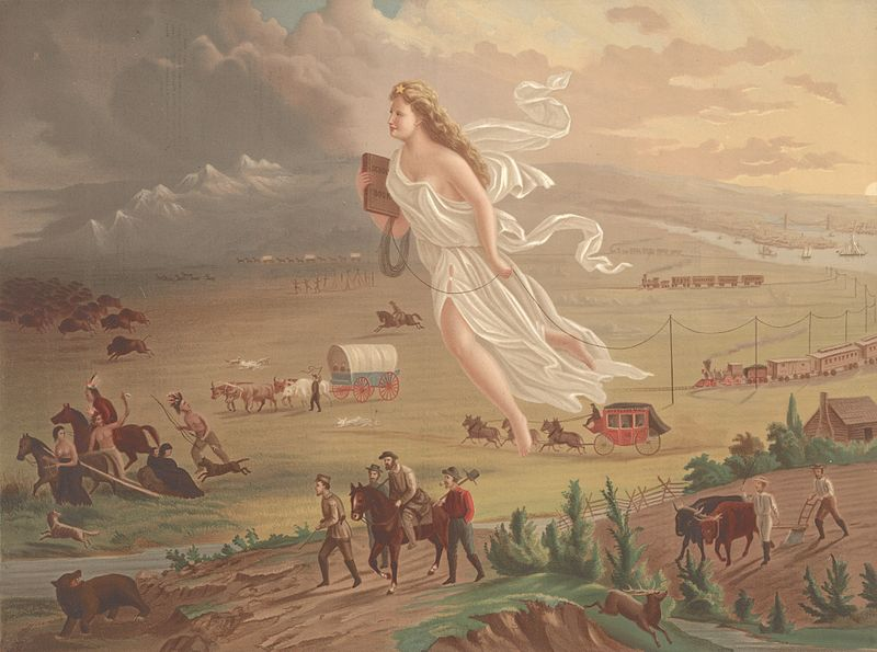 """American Progress,"" by John Gast, 1872, depicting the idea of Manifest Destiny"