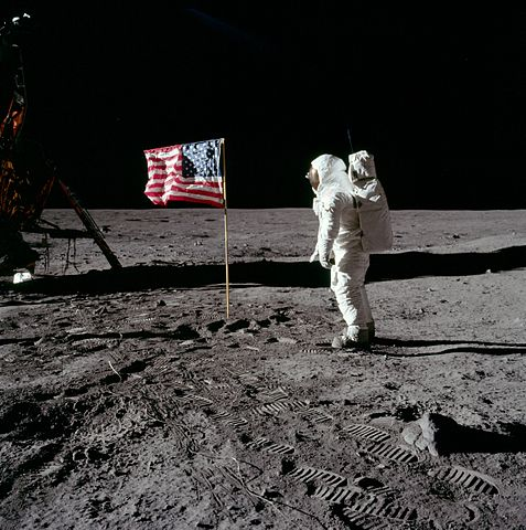 Buzz Aldrin salutes the U.S flag on the Moon