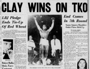 Cassius Clay (Muhammad Ali) wins heavyweight boxing championship, 1964 (The Detroit Free Press, via Newspapers.com)