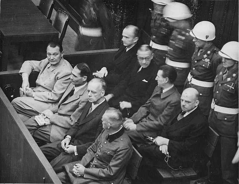 Defendants in their dock at the Nuremberg Trials
