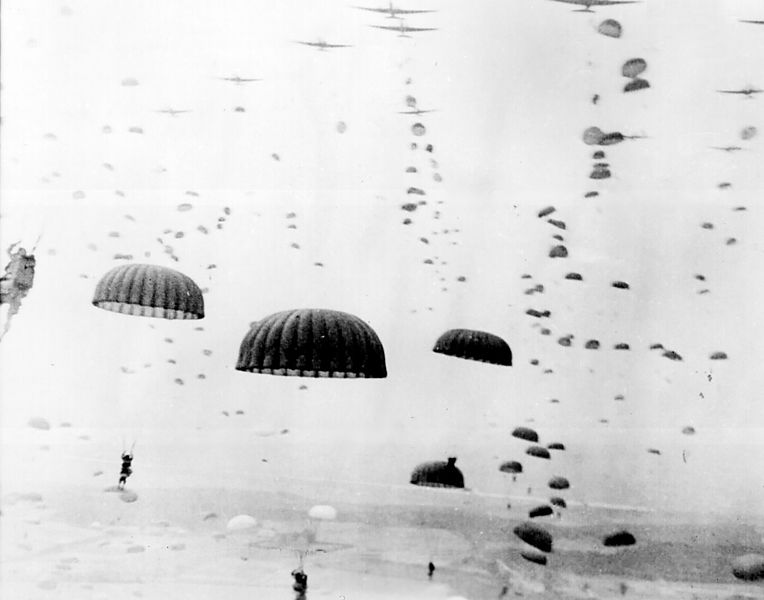 Paratroops landing in the Netherlands during Operation Market Garden in September 1944