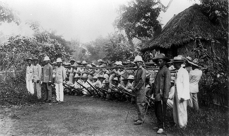 Philippine-American War: Filipino soldiers outside Manila, 1899