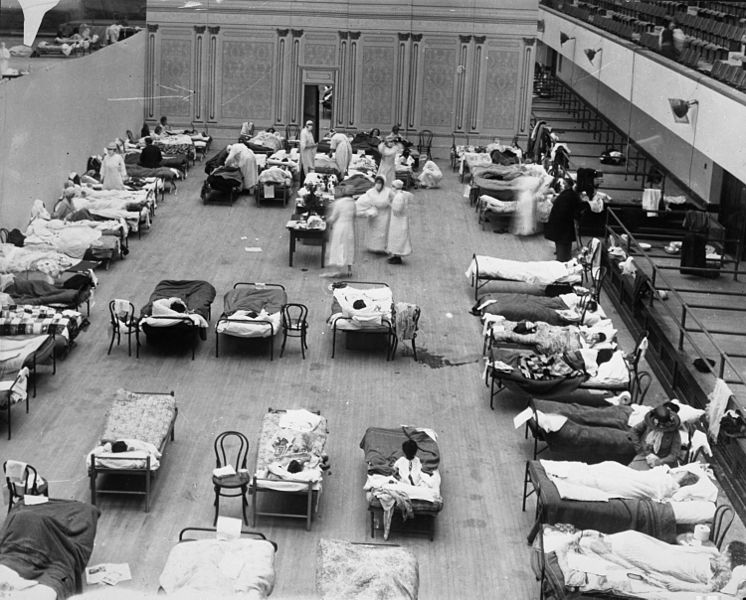 Temporary hospital in California for Spanish flu victims, 1918