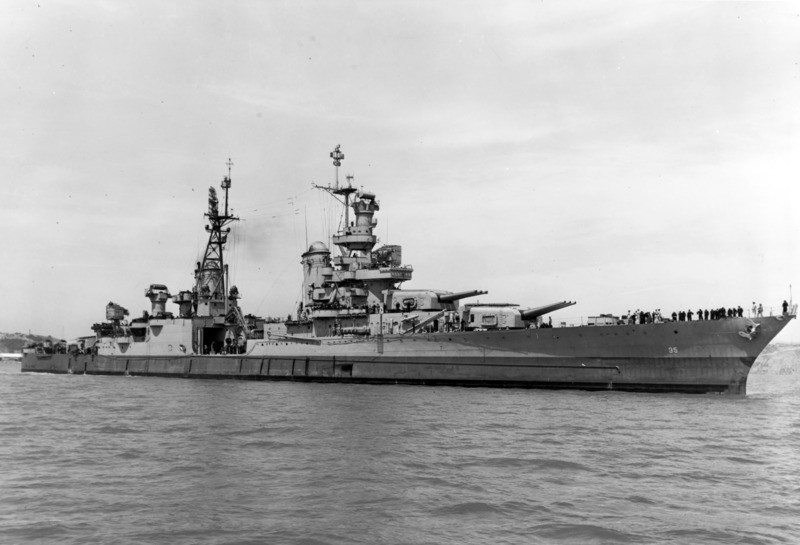 USS Indianapolis (CA-35) off the Mare Island Navy Yard, California, 10 July 1945. US Navy photo 19-N-86911.