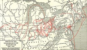 Map of routes of the Underground Railroad,