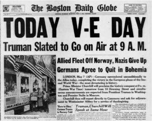 V-E Day newspaper front page (Boston Daily Globe, via Newspapers.com)