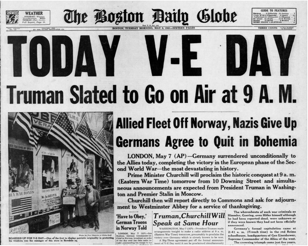 V-E Day newspaper front page (Boston Daily Globe, via Newspapers.com)