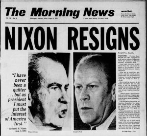 Headlines announcing Nixon's resignation following the Watergate scandal (The Morning News, via Newspapers.com)